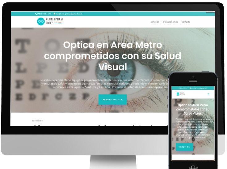 Desktop View Metro Optical Group Website
