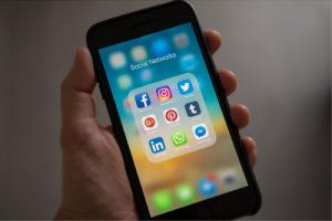 Social media logo in phone